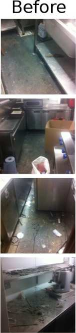 4 pictures showing the premises before builders cleaning