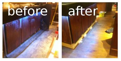 the first floor before and after the builders clean in london